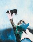 Vache dans les doigts I - huile, acryl et cheveux sur toile - 90 x 70 cm - n°7/2011