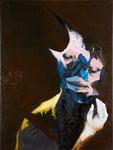 Figure avec oiseau I - huile et acryl sur toile - 80 x 60 cm - n° 17/2010