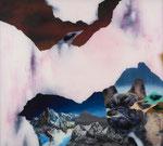 Paysage (tremblement de terre avec chien) - huile sous verre - 100 x 112 cm - octobre 2015, n° 28/2015