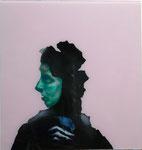 Kopf mit Vogel II (visage vert) - huile sous verre - 72 x 69 cm - n° 6/2013