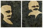 Diptyque homme et femme - feuille d'or et huile sur labradorite - 40 x 30 cm pièce (40 x 60 cm le diptyque) - n°4/2014