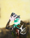Vache dans les doigts II - huile, acryl et cheveux sur toile - 90 x 70 cm - n°8/2011