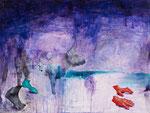 Paysage nocturne - huile, acryl, perles et poussières sur bois - 46 x 61 cm - n°3/2014