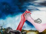 Bras de fer (dans un paysage désolé II) - huile, acryl et cheveux sur dibond - 45 x 59,5 cm - n°16/2012