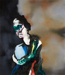 Portrait mélodramatique (Edwige) - huile, acryl et cheveux sur toile - 117 x 102 cm - n° 13/2010