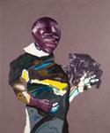 Chevalier/moteur - acryl, huile, cheveux et poussières sur toile - 150 x 125 cm - n°20/2007