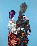 Double portrait avec Pauline (bleu) - acryl et huile sur toile - 178 x 139 cm - n° 1/2006