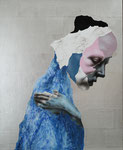 Tête mélodramatique IV (Pauline) - feuille d'argent, acrylique et tempéra sur bois - 75 x 61 cm - n°18/2009