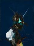 Figure avec oiseau III - huile et acryl sur toile - 80 x 60 cm - n° 19/2010