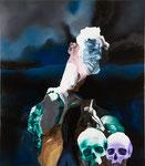 Autoportrait (mélodramatique) avec crucifix et crânes - huile, acryl et cheveux sur toile - 117 x 102 cm - n° 16/2010
