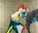 Mesurer un éléphant I - huile, acryl et feuille d'or sur bois - 83 x 95 cm - n° 12/2009