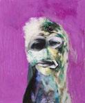 Petite tête grotesque n°8 - huile et acryl sur toile - 50 x 41 cm - 2015, n°25/2015