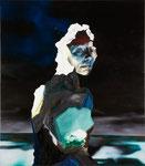 Portrait mélodramatique (Pauline) - huile, acryl et cheveux sur toile - 117 x 102 cm - n° 12/2010