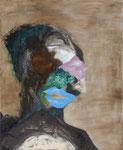 Petite tête grotesque n°6 - huile et acryl sur toile - 50 x 41 cm - janvier 2015, n°1/2015