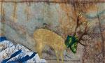 Descendant de la montagne - huile et feuille d'or sur marbre Portofino - 29 x 48 cm - n°8/2014
