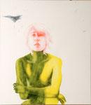 Loc-Hyun orange et Mirage F-1 - acryl, cheveux et poussières sur toile - 117 x 102 cm - n°5/2007
