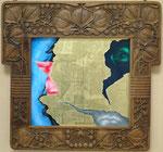 Sans titre (cadre Erwin Gadomski 1901) - huile, acryl et feuille d'or sur dibond - 30 x 40 cm - n°2/2012