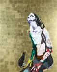 Nu (Aurélie) avec un busard - huile, acryl et feuille d'or sur bois - 155 x 122 cm - n°32/2008