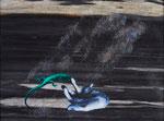Eidechsen Angriff im Haar Regen - acryl, huile, perles et cheveux sur Carrare noir - 30 x 40 cm - n°18/2014