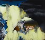 Paysage (tremblement de terre avec nourrisson) - huile sous verre - 100 x 112 cm - octobre 2015, n° 27/2015