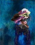 Die Erschrockene I - huile, acrylique et cheveux sur toile - 90 x 70 cm - n°5a/2011