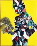 Personnage au moteur - huile et acryl sur toile - 110 x 90 cm - n° 9/2006