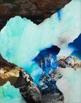 Paysage (tremblement de terre avec bébé) - huile sous verre - 150 x 120 cm - mars 2015 n°9/2015