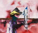 Figure avec paysage - huile et acryl  sur toile - 112 x 117 cm - n° 2/2013