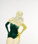 Aurélie jaune (in der Sonne blickend) - acryl, cheveux et poussières sur toile - 117 x 102 cm - n°8/2008