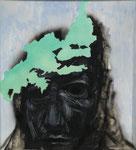 Figure avec cartes - gouache et encre sur parchemin (agneau) - 20 x 20 cm, 2019