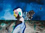 Petite figure avec paysage - huile et acryl sur bois - 44 x 61 cm - n°1/2014