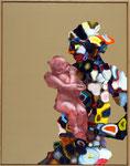 Maternité fond ocre - huile et acryl sur toile -90 x 70 cm - 2005