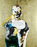 Personnage avec heaume milanais et vache négative - huile, acryl et feuille d'or sur bois - 155 x 122 cm - n°29/2008