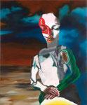 Portrait mélodramatique II (Pauline) - huile, acryl et cheveux sur bois - 125 x 95 cm - n°10/2009