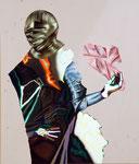 Chevalier/pain - acryl, huile, cheveux et poussières sur toile - 130 x 110 cm - n°14/2007