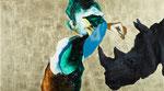 Mesurer un rhino (souriant) I - huile, acryl et feuille d'or sur bois - 50 x 90 cm - n°22/2012