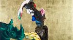 Mesurer un rhino (négatif) II - huile, acryl et feuille d'or sur bois - 50 x 90 cm - n°23/2012