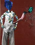 La voleuse (hommage à Watteau) - huile et acryl sur toile - 173 x 135 cm - n°4/2006
