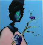 Kopf mit Vogel III - huile sous verre - 72 x 69 cm - n° 7/2013