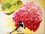 2014 Mus voor hortensia acrylverf op doek acrylverf 30 x 30 cm. € 206