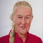 Zelfportret Marian van Zomeren- van Heesewijk acrylverf op 3d-doek 30 x 30 cm.