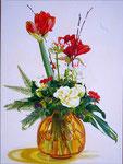 Interzijn: een geschenk van de aarde, de hemel, talrijke levende wezens en hard en liefdevol werken. Citaat Thich Nhat Hanh Geschilderd door Marian van Zomeren- van Heesewijk met acrylverf op linnen 60 x 80 cm.