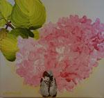 2014 Mus voor hortensia. Acryl op doek   30 x 30 cm.  € 165,-
