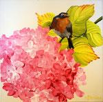 2014 Roodborstje op hortensia acrylverf op doek 30 x 30 cm.€ 206
