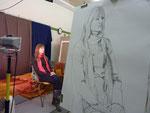 2010 Getekend naar levend model door Marian van Zomeren- van Heesewijk 70 x 100 cm. gedurende 2 x 45 minuten poseren.