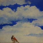 """2013 """"Contact"""" acrylverf op doek 40 x 40 cm. € 165,-"""