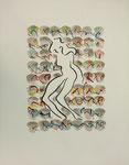 1997 Moderne dans op muziek lII gemengde techniek 50 x 70 cm. € 70,- niet ingelijst, € 200 ingelijst