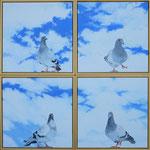 2014 Duiven II: samenkomst uit 4 windstreken. Mensen verstonden/ verstaan elkaar in liefdevolle vriendelijkheid en mededogen. Acrylverf op linnen 4 x 40 x 40 cm. € 1200