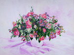 Elkaars bloemen water geven. Geschilderd door Marian van Zomeren- van Heesewijk met acrylverf op paneel 60 x 80 cm.