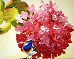2014 Blauwborst voor hortensia acrylverf op doek 20 x 30 cm. verkocht